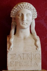 Sappho bust inscribed Sappho of Eresos
